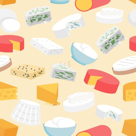 mozzarella cheese: Cheese variety flat seamless pattern with cheddar mozzarella gouda camembert vector illustration