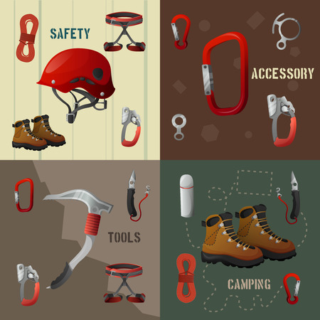 Mountains peaks climbing 4 flat icons composition poster with camping safety accessories tools abstract isolated vector illustrations