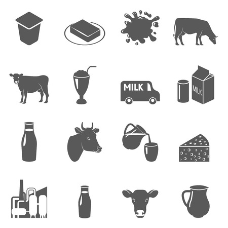 Milk cow and dairy products black icons set with sour cream and butter abstract isolated vector illustration Çizim