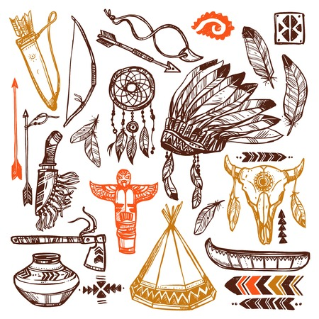 american native: Native americans set with hand drawn feathers headband and traditional patterns isolated vector illustration