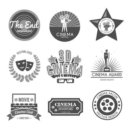 teatro: Cineclubs Cine 3d colecci�n de etiquetas retro negro aislado con entradas de cine c�mara ilustraci�n vectorial