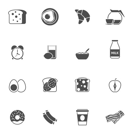 corn flakes: Breakfast and morning icons set with juice bacon and eggs black white flat isolated vector illustration