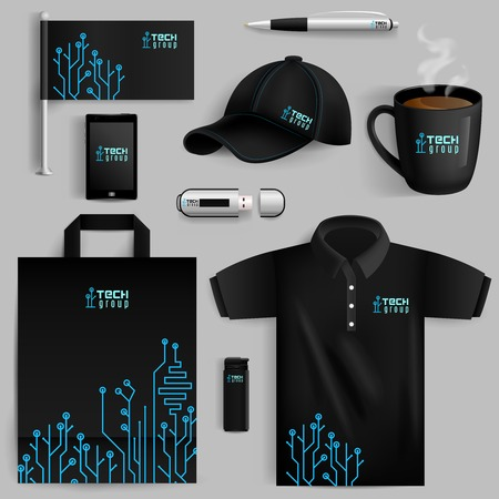 set: Corporate identity objects set with smartphone lighter cup with technology pattern isolated vector illustration