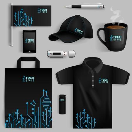 L'identité d'entreprise objets mis à la tasse plus léger smartphone avec motif de la technologie isolé illustration vectorielle Banque d'images - 41897062