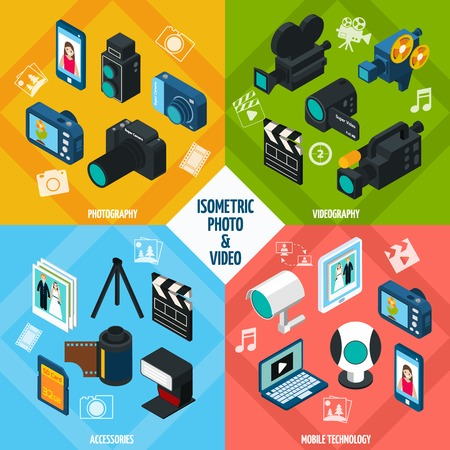 industry concept: Isometric photo and video design concept set with photography and videography 3d icons isolated vector illustration