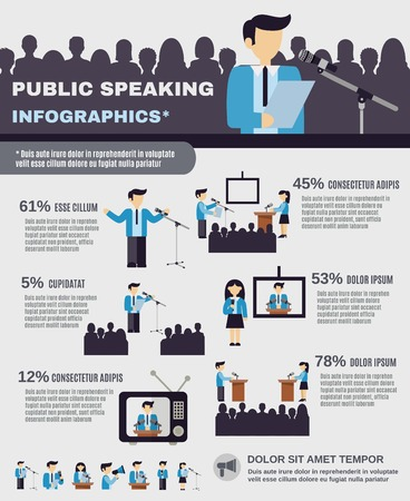 conference speaker: Public speaking infographics set with businessmen and professional speakers vector illustration