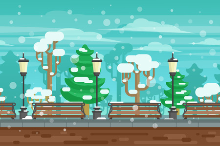 kerb: Winter garden landscape with lanterns and benches under snow doodle poster vector illustration Illustration