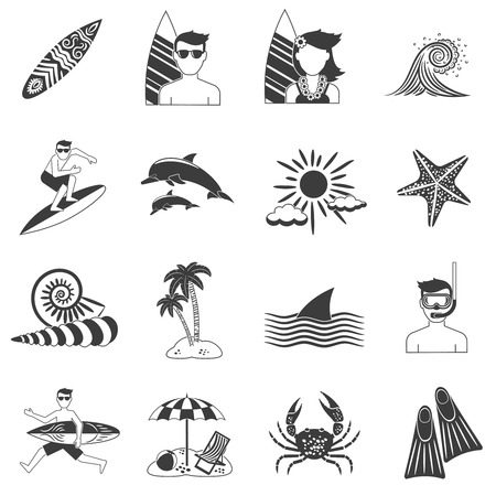 beach cruiser: Tropic seashore surfing vacations icons black set isolated vector illustration