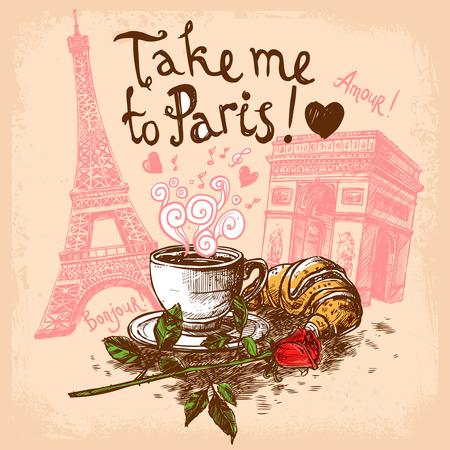 Vigyél Paris kézzel rajzolt koncepció kávéscsésze kifli Eiffel-torony és a diadalív koncepció vektoros illusztráció