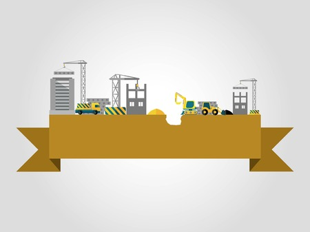 building site: Building concept with flat construction site on ribbon banner vector illustration