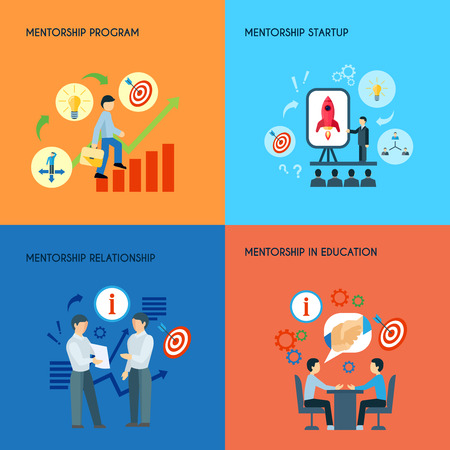 expertise: Business public relations in education mentorship startup program concept 4 flat icons composition abstract isolated vector illustration