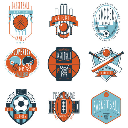 cricket: Professional sport campus league teams clubs and champions associations labels emblems icons collection abstract isolated vector illustration