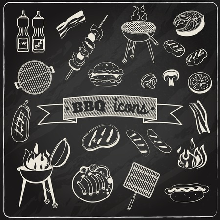 Barbecue en grill partij krijtbord decoratieve elementen geplaatst geïsoleerd vector illustratie