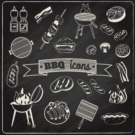 křída: Grilování a křída deska grill party ozdobné prvky nastavit izolované ilustrace