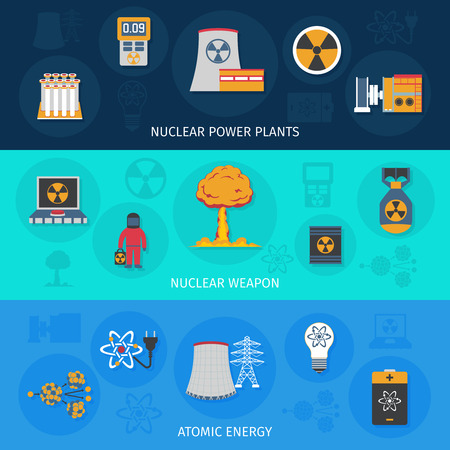 atomic energy: Nuclear power plant atomic energy and weapon production flat horizontal banners set banner abstract isolated vector illustration