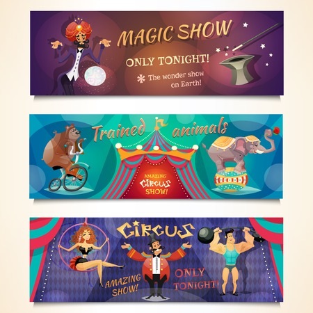 circo: Circo banner horizontal establece con espectáculo y animales alvertising ilustración vectorial aislado magia