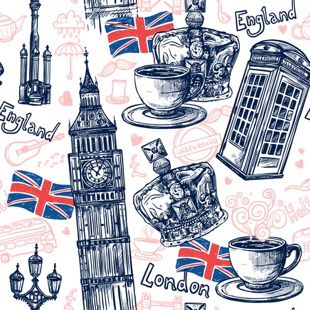London seamless pattern with sketch telephone booth big ben crown vector illustration Çizim