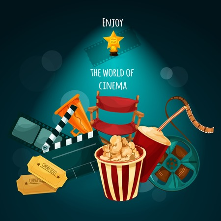 movie poster: Cinema background with film director chair actor award movie tickets cartoon vector illustration