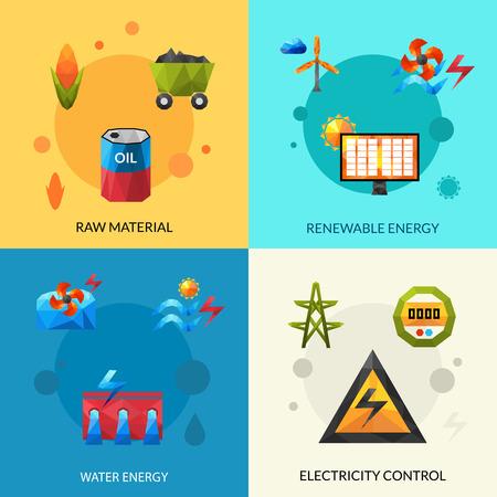 rindfleisch roh: Rohmaterial f�r erneuerbare Energien und elektrische Steuerung polygonal Icons Set isolierten Vektor-Illustration Illustration