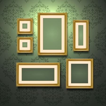 golden frames: Realistic golden frames on retro style ornament wallpaper wall vector illustration