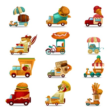 Mobile food stores and delivery trucks cartoon set isolated vector illustration
