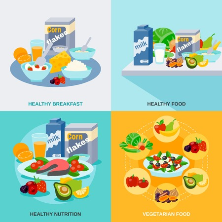 food illustrations: Healthy food design concept set with vegetarian nutrition icons isolated vector illustration