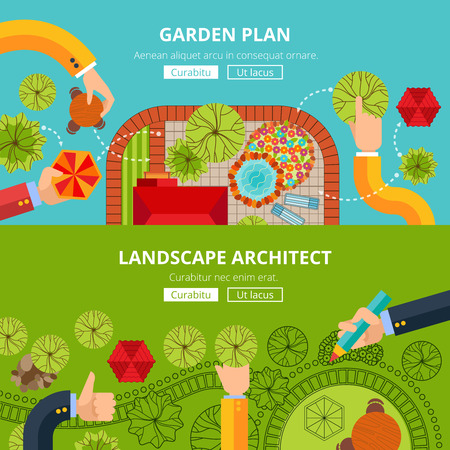 architect tools: Online city garden creative design software tools professional landscape architect internet site homepage layout abstract vector illustration Illustration