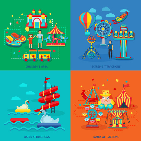 roller coaster: Amusement park design concept set with extreme water family attractions flat icons isolated vector illustration