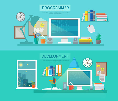 computer screen: Workspace horizontal banner set with programmer and development elements isolated vector illustration