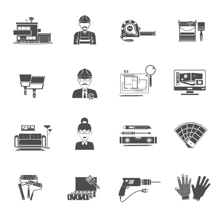 interior designer: Interior design black icons set with housing and decor elements isolated vector illustration