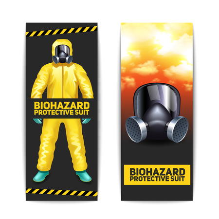 protective suit: Biohazard vertical banners set with worker in protective suit and goggles isolated vector illustration