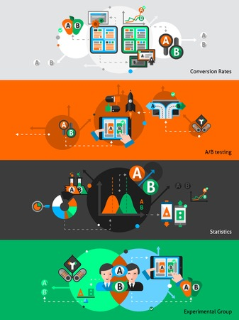 test results: A-b seo testing horizontal banner set with statistic elements isolated vector illustration Illustration
