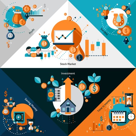 Investment corners set with stock market profit success elements isolated vector illustration