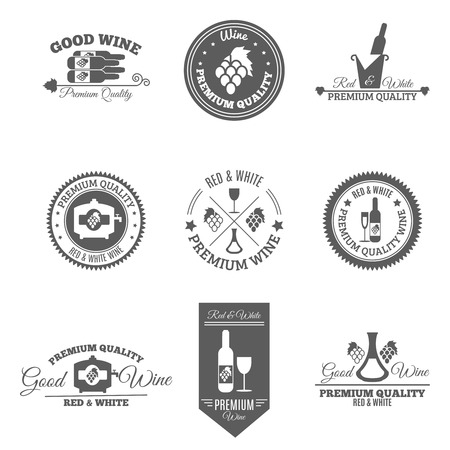 premium: Wine premium and good quality text flat black emblems and labels set isolated vector illustration Illustration