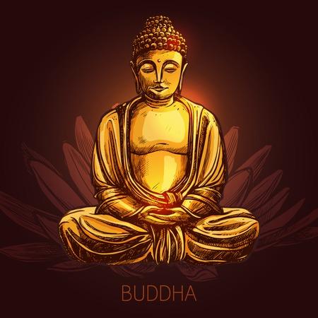 Boeddha god zittend in lotushouding op bloem schets vector illustratie Stock Illustratie