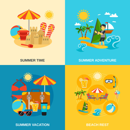sandcastle: Summer vacation and adventure icons set with sandcastle surfing and beach rest flat isolated vector illustration