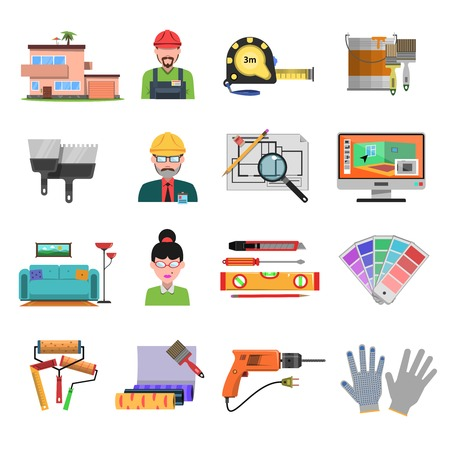 Interior design flat icons with designer and architecture tools isolated vector illustration Stock Illustratie