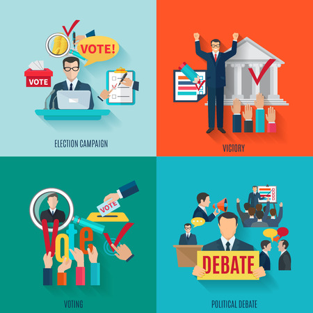 list of successful candidates: Election design concept set with voting and political debate flat icons isolated vector illustration Illustration