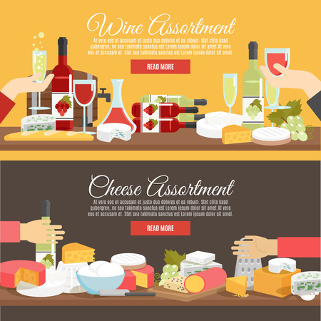 parmesan cheese: Cheese assortment and wine in bottles decanters and glasses flat color horizontal banner set isolated vector illustration