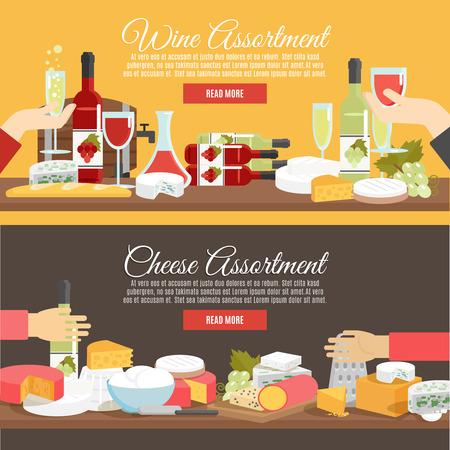 queso: Surtido del queso y el vino en botellas de decantadores y copas de color plano banner horizontal conjunto aislado ilustraci�n vectorial