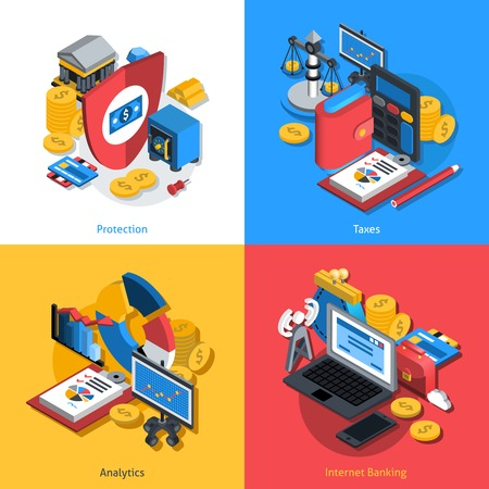 Financial design concept set with money protection analytics and internet banking isometric icons isolated vector illustration