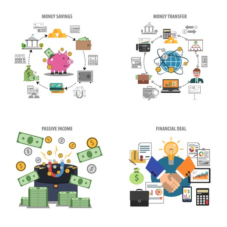 saving: Finance and money savings decorative icons set isolated vector illustration