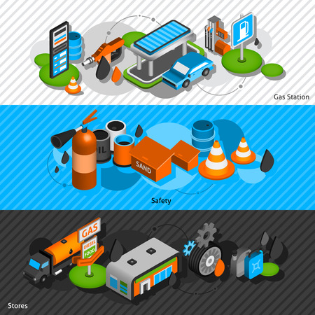 safety equipment: Gasoline diesel fuel station isometric banners set with convenience shop and safety equipment abstract isolated vector illustration Illustration