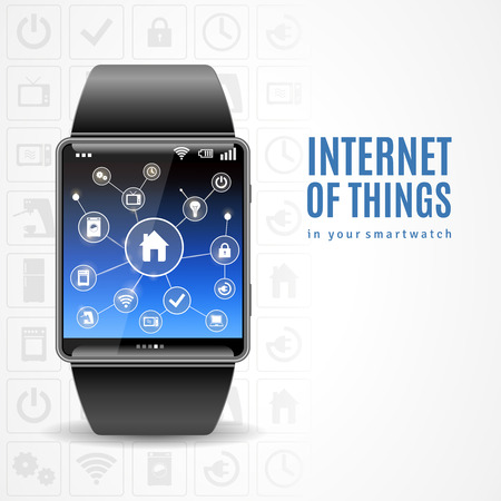 phone the clock: Internet of things in smart wrist multimedia watch gadget management scheme realistic color concept vector illustration Illustration