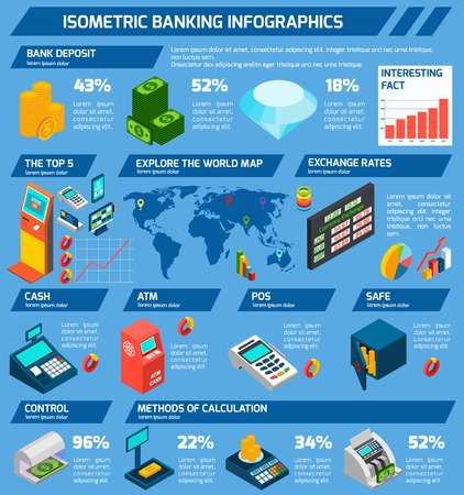 Isometric banking infographics set with money machines symbols and charts vector illustration Illustration