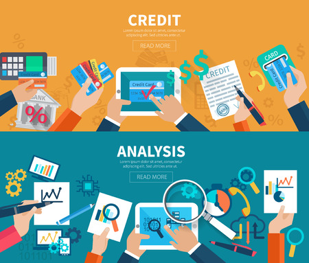 planning: Credit and analysis horizontal banner set with hands holding business objects isolated vector illustration