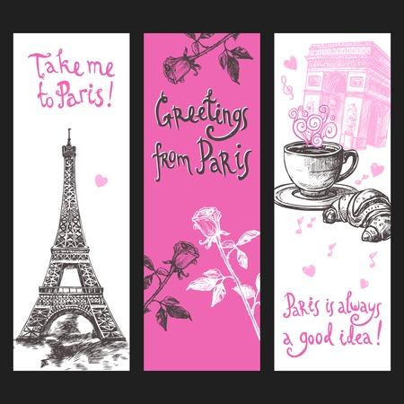 pareja comiendo: Banner vertical Paris conjunto con flores dibujadas a mano Torre Eiffel y café aislado ilustración vectorial Vectores