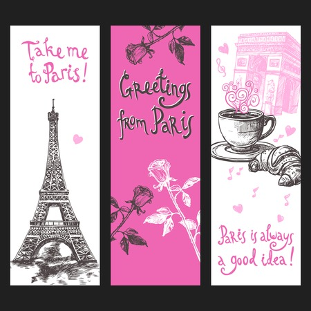 french cafe: Paris vertical banner set with hand drawn eiffel tower flowers and coffee isolated vector illustration Illustration