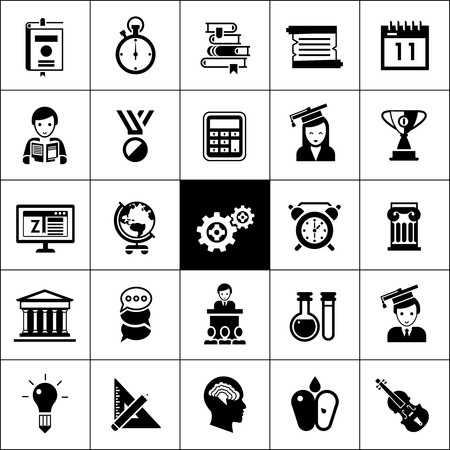 University and high school education icons black silhouettes set isolated vector illustration