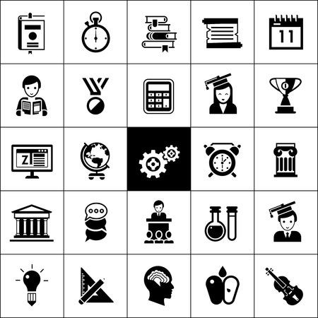 Universiteit en de middelbare school onderwijs iconen zwarte silhouetten geplaatst geïsoleerd vector illustratie Stock Illustratie